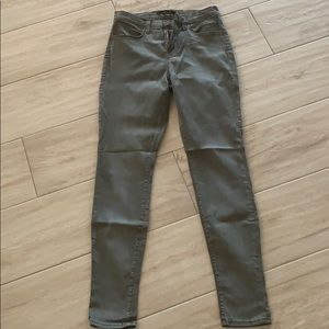 J Brand super skinny jeans, high rise, olive green